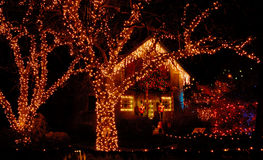 圣诞节庭院照明 免版税库存照片