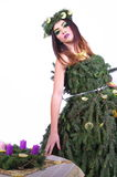 圣诞节式样夫人With Advent Wreath 2 免版税图库摄影