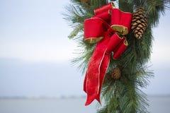 圣诞节弓和杉木锥体 免版税库存图片
