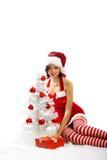圣诞节微笑的妇女 库存照片