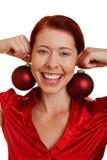 圣诞节微笑的结构树妇女 库存图片