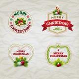 圣诞节徽章集合 免版税库存图片