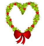 圣诞节心形的花圈 免版税库存照片