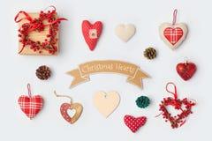 圣诞节心脏嘲笑的装饰汇集模板设计 在视图之上 免版税库存照片