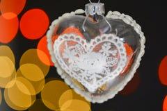圣诞节心脏有bokeh背景 免版税图库摄影