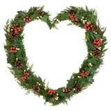圣诞节心脏花圈 库存图片