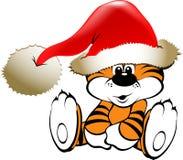 圣诞节快乐的老虎 免版税库存照片