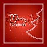 圣诞节快活的明信片 有杉树和雪花的发光的诗歌选 库存照片