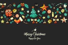 圣诞节快活的模式 misterlet,礼物,云杉,星,袜子,糖果,响铃,弓 束木被雕刻的装饰葡萄的葡萄酒 节日 皇族释放例证