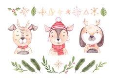 圣诞节快活设计的要素 手拉的水彩illustrat 库存例证