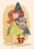圣诞节快活的明信片 绘画例证 库存图片