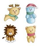 圣诞节戏弄水彩动物雪人 库存图片