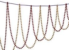 圣诞节成串珠状在白色背景的装饰 免版税库存图片