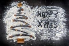 圣诞节我的投资组合结构树向量版本 从面粉的圣诞树用装饰品茴香s 免版税库存图片