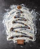 圣诞节我的投资组合结构树向量版本 从面粉的圣诞树用装饰品茴香s 图库摄影