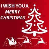 圣诞节我的投资组合结构树向量版本 卡片,在红色后面地面的假日 向量例证