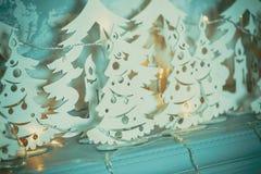 圣诞节我的投资组合结构树向量版本 美丽的新年装饰经典家庭内部 库存照片