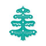 圣诞节我的投资组合结构树向量版本 激光切口模板 免版税库存照片