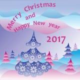 圣诞节我的投资组合结构树向量版本 袋子看板卡圣诞节霜klaus ・圣诞老人天空 图库摄影