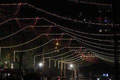 圣诞节或屠妖节树照明设备仪式 免版税库存照片