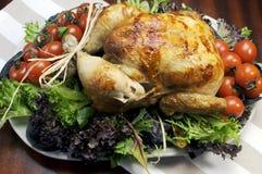 圣诞节或感恩烤鸡火鸡晚餐 免版税库存照片
