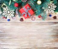 圣诞节或新年快乐装饰背景 构成f 免版税库存照片