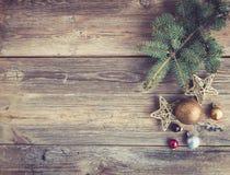圣诞节或新年土气木背景 库存照片