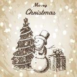 圣诞节或新年手拉的传染媒介例证 在高帽子、xmas树和礼物盒剪影,葡萄酒样式的雪人 库存图片