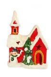 圣诞节或新年时间的红色圣诞老人房子装饰品 免版税库存图片