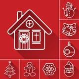 圣诞节或新年线象集合 图库摄影