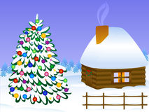 圣诞节房子结构树 免版税库存照片