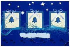 圣诞节手工制造明信片 免版税库存图片