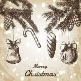 圣诞节手拉的传染媒介例证-装饰装饰品、分支和杉木锥体剪影,葡萄酒样式 browne 库存例证