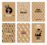 圣诞节手拉的传染媒介可印的卡片 免版税库存照片