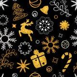 圣诞节手拉的字法 圣诞树装饰,雪花,礼物 金黄闪烁纹理 男孩节假日位置雪冬天 皇族释放例证