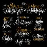 圣诞节手拉的字法 男孩节假日位置雪冬天 向量例证