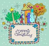 圣诞节手拉的背景 免版税图库摄影