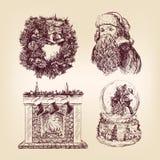 圣诞节手拉的集 免版税库存照片