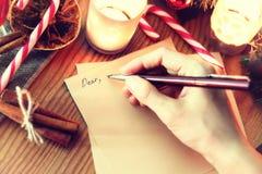 圣诞节手文字故事 库存图片