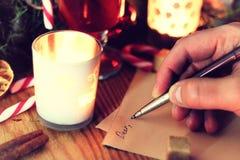 圣诞节手文字故事 免版税库存图片