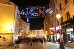 圣诞节托儿所装饰在萨格勒布 库存图片