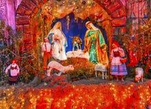 圣诞节托婴所女修道院尼姑圣米格尔德阿连德墨西哥 免版税库存图片