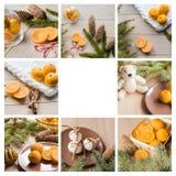 圣诞节拼贴画用蜜桔,姜饼,云杉的树枝 您的文字的地方白色背景的 免版税库存照片