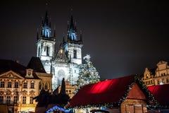 圣诞节捷克市场布拉格共和国 库存照片