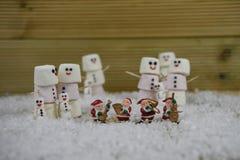 圣诞节摄影图象做用蛋白软糖塑造了在有结冰的愉快的雪人微笑和圣诞老人装饰的 免版税库存照片