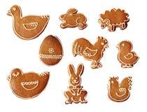圣诞节收集复活节姜饼 免版税库存图片