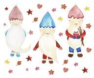 圣诞节收集新年度 圣诞老人,星,心脏,莓果 向量例证