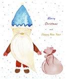 圣诞节收集新年度 水彩明信片 向量例证
