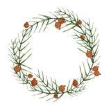 圣诞节收集新年度 水彩花圈 库存例证