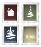 圣诞节收集老邮票 免版税库存照片